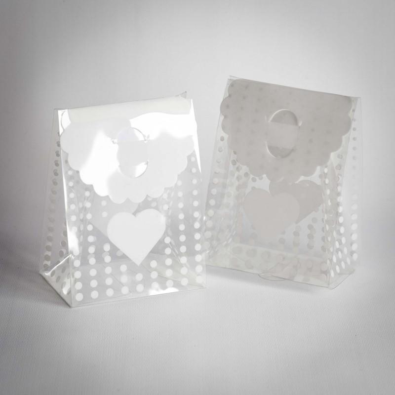 20 GIFT BOX GRANDE PORTACONFETTI PVC POIS CUORE BIANCHI 61457
