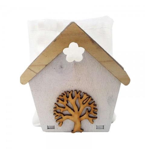Casette di legno con sacchetti e alberello - 12 pz