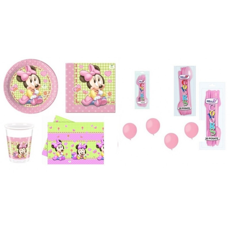 KIT 18 -MINNIE BABY + CUCCHIAI COLTELLI FORCHETTE E PALLONCINI ROSA