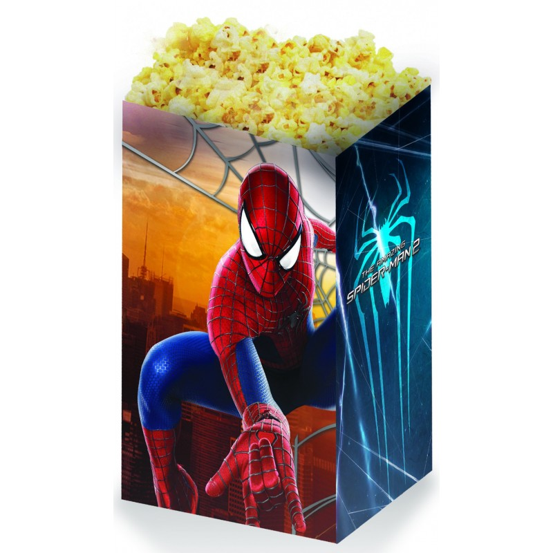SET 4 CONTENITORI POP CORN PER FESTA TEMA SPIDERMAN