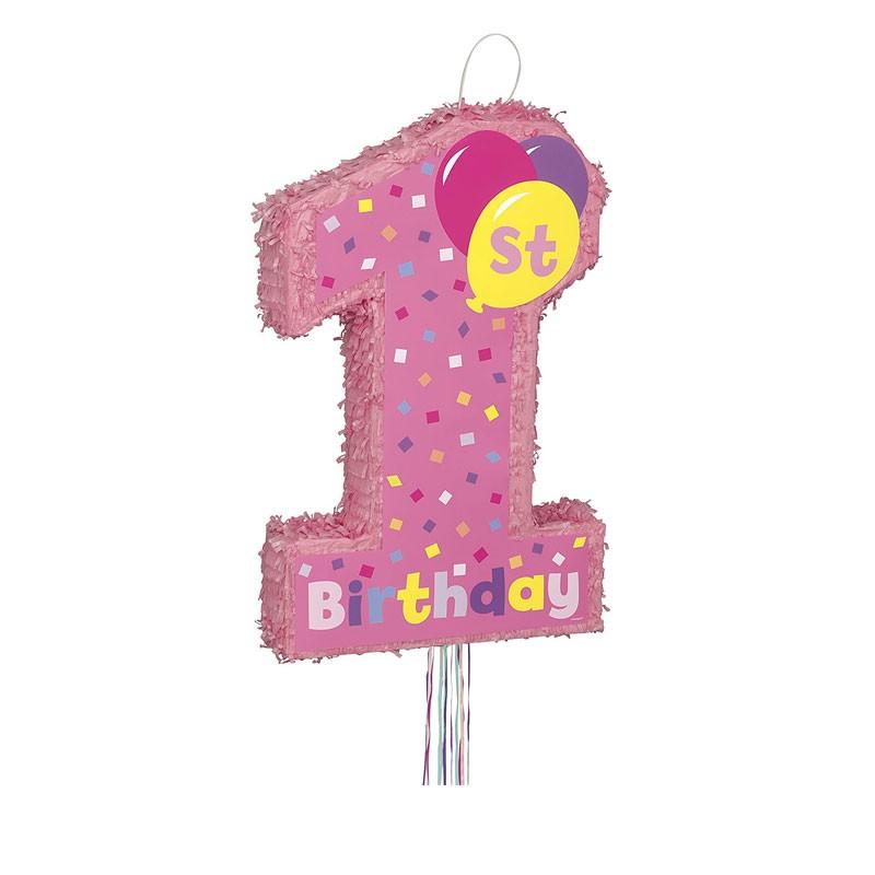Pignatta per 1 compleanno rosa 56 cm - 66306