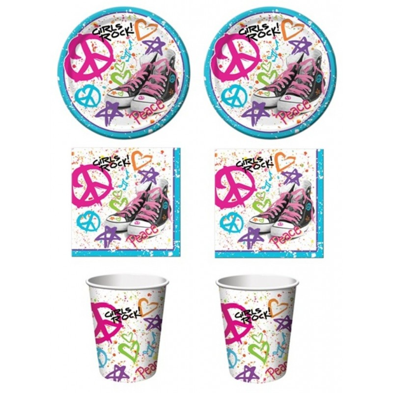 KIT N2 COORDINATO PER FESTA A TEMA '80 S PEACE LOVE GIRL