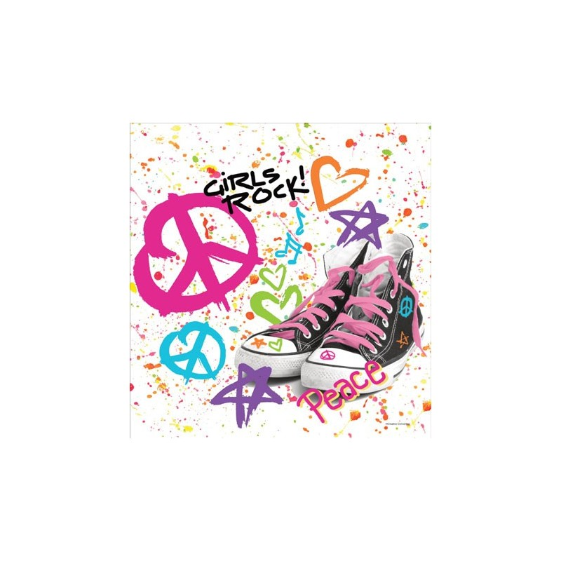 TOVAGLIA PER FESTA COMPLEANNO TOTALLY 80'S GIRL ROCK PEACE