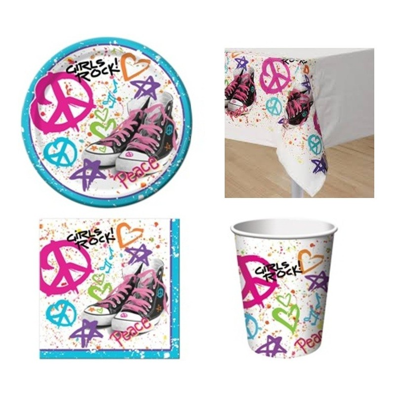 KIT N3 COORDINATO PER FESTA A TEMA '80 S PEACE LOVE GIRL