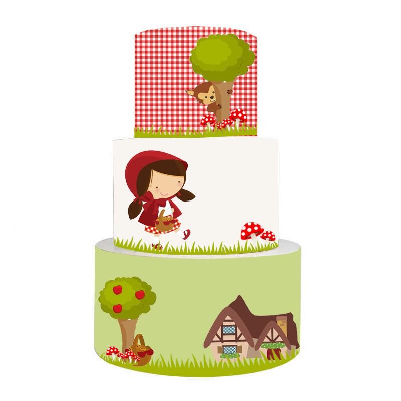 Torta Scenografica in vinile Cappuccetto Rosso 36cm h x 25 cm diametro