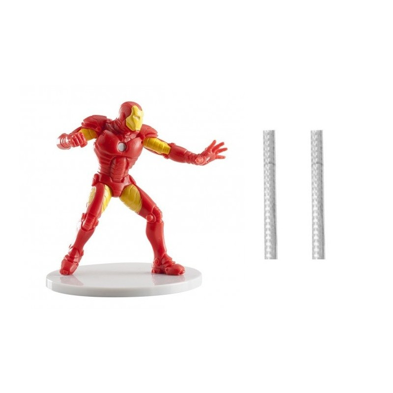 1 DECORAZIONE TORTA IRON MAN + 2 CANDELE MAGIC FLAMBè PIRICHE