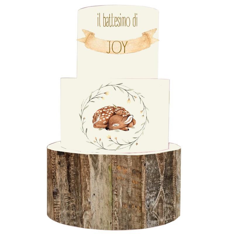 Torta Scenografica in vinile Cerbiatto - Little Deer 36cm h x 25 cm diametro