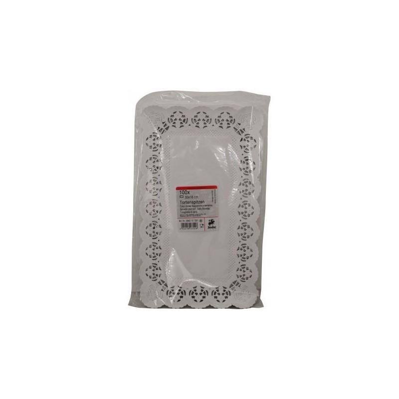 100 CENTRINI RETTANGOLARI SOTTO TORTA IN CARTA BIANCA EFFETTO PIZZO 30 X 18 CM