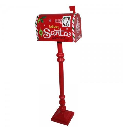 Cassetta Postale Rossa Babbo Natale in Legno H34.5x24x8.5 cm