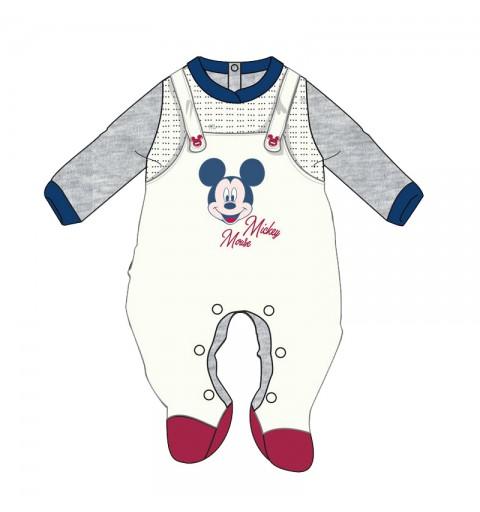 Tutina Neonato Topolino Mickey Mouse in ciniglia WQ3012MA - Bianco Grigio 1 mese