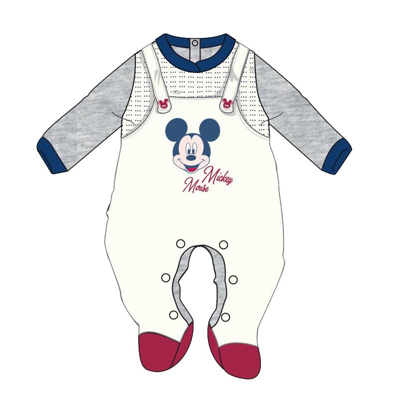 Tutina Neonato Topolino Mickey Mouse in ciniglia WQ3012MA - Bianco Grigio 6 mesi