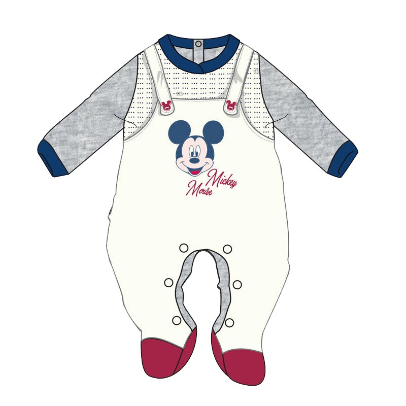 Tutina Neonato Topolino Mickey Mouse in ciniglia WQ3012MA - Bianco Grigio 9 mesi