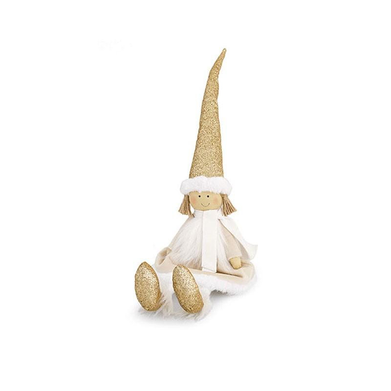 Angelo bianco glitterato oro 50 cm 26164