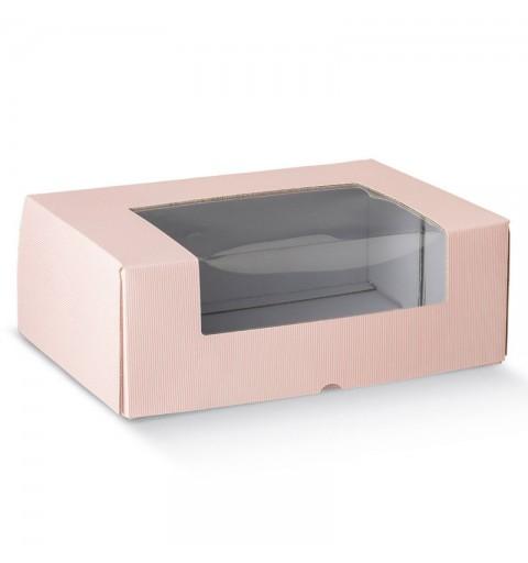 scatola box porta dolci con finestra millerighe rosa 380 x 300 x 140 mm 17465