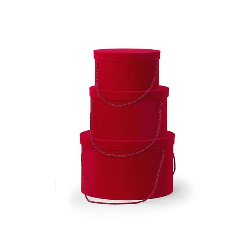 Set 3 cappelliere rosse con cordino scatole in floccato 26927 ø 255 x h 140 ø 365 x h 225 mm