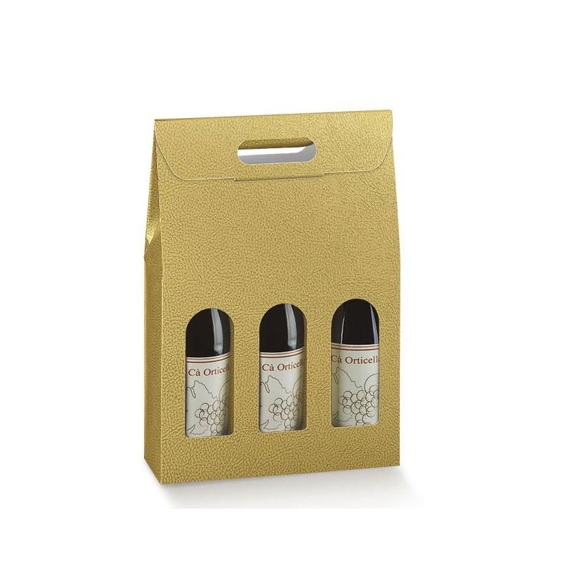 Scatola in cartone 3 bottiglie pelle oro 300 x 100 x 385 mm 33569