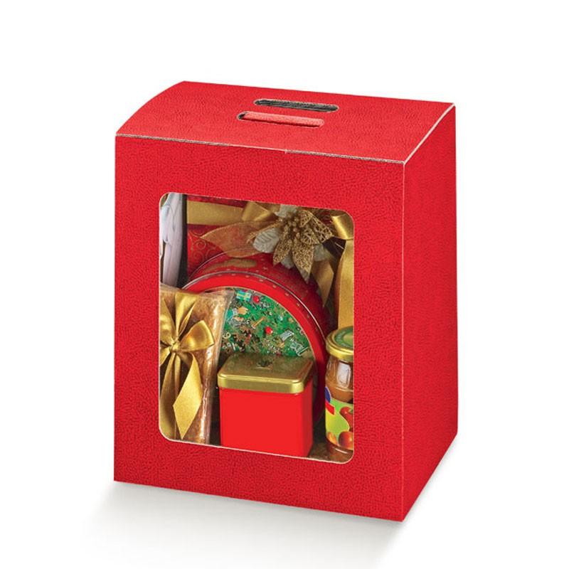 Scatola in cartone rosso con finestra trasparente in pvc 330 x 250 x 350 mm 33422