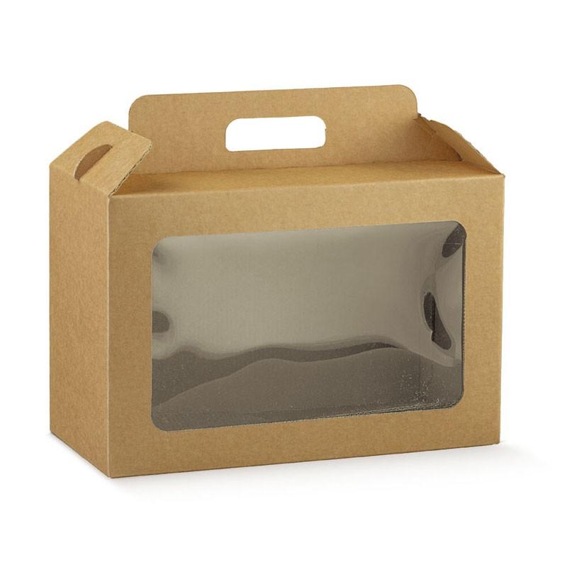 Scatola in cartone per confezioni gastronomiche con maniglia 290 x 145 x 190 mm 38546