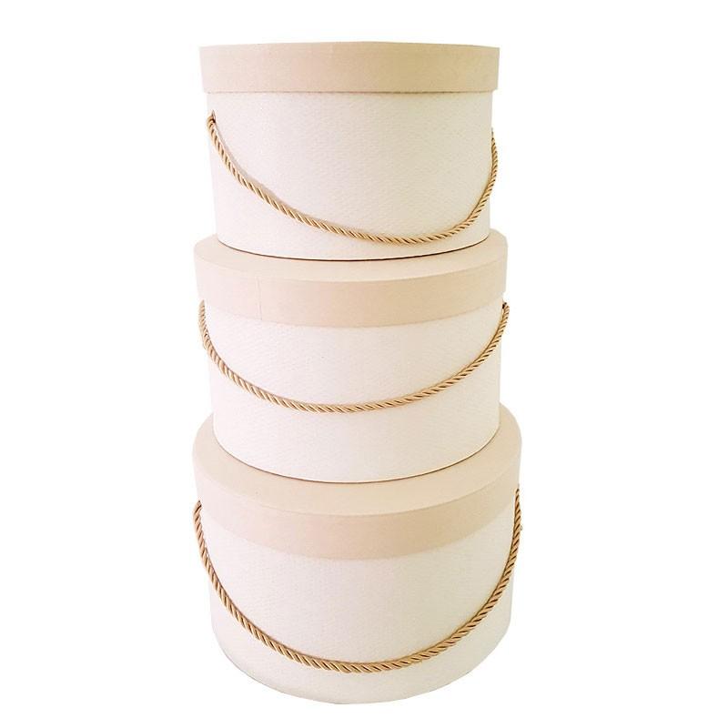 Set 3 cappelliere Panna con cordino scatole ø 255 x h 140 ø 365 x h 225 mm