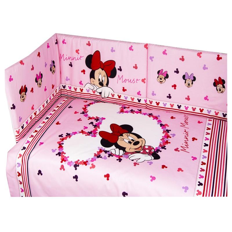 parure lettino culla Minnie set piumino + copri piumino + paracolpi Rosa DL0321WD