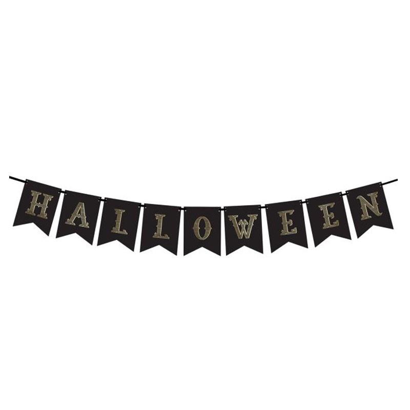 Ghirlanda di Carta Halloween Nera e Oro  GRL47