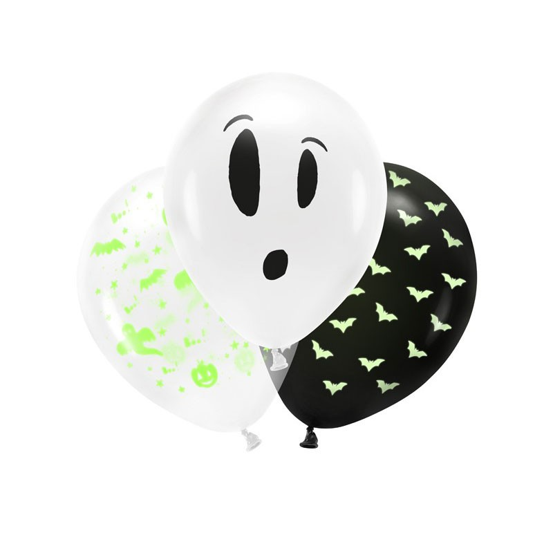 palloncini BOO fluorescenti diametro 27 cm 3 pz  BU12-1-000-3 halloween