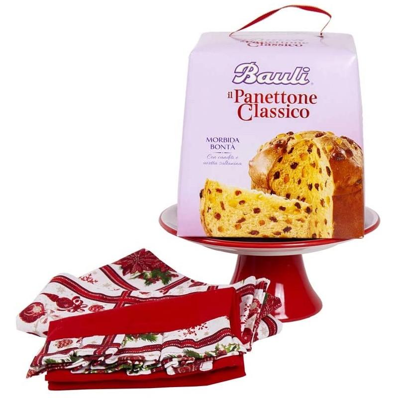 Idea regalo natalizia panettone alzatina e strofinacci