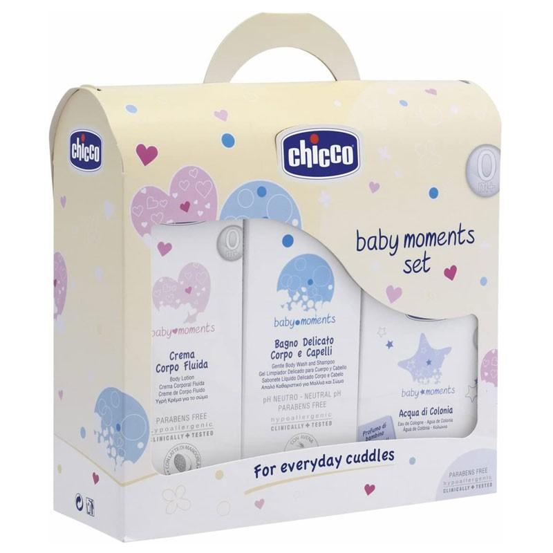 Chicco Baby Moments Set 0m+ bagno corpo, crema , acqua di colonia 10310