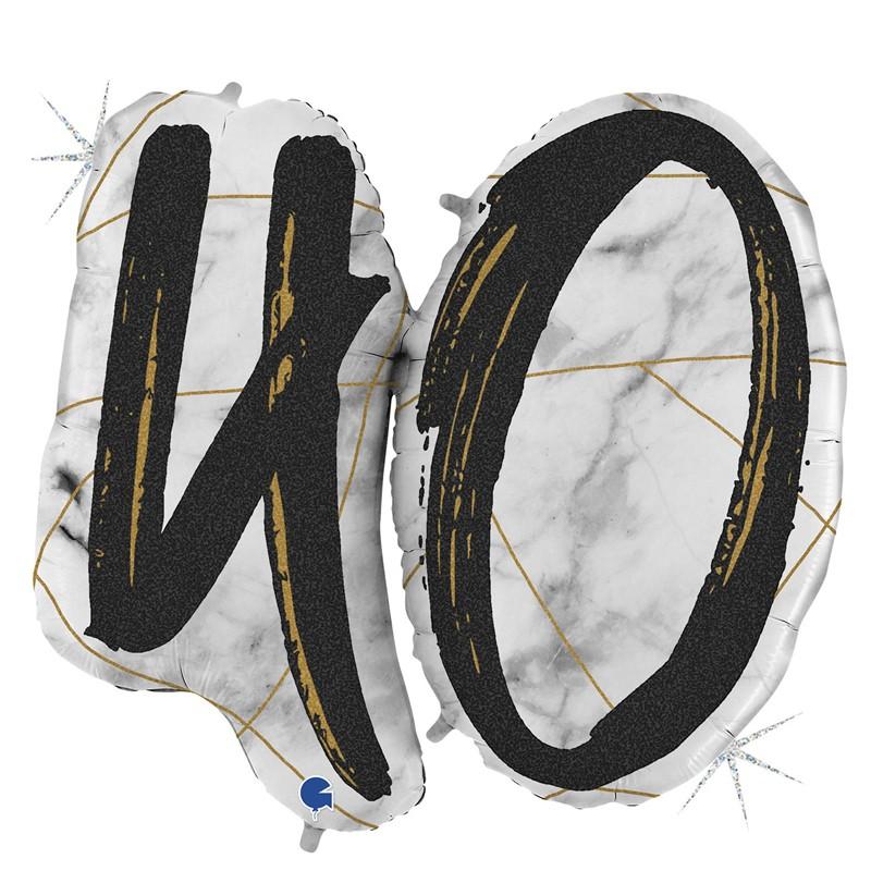 Palloncino Supershape Sagomato N 40 Marmorizzato Nero Glitter 0110