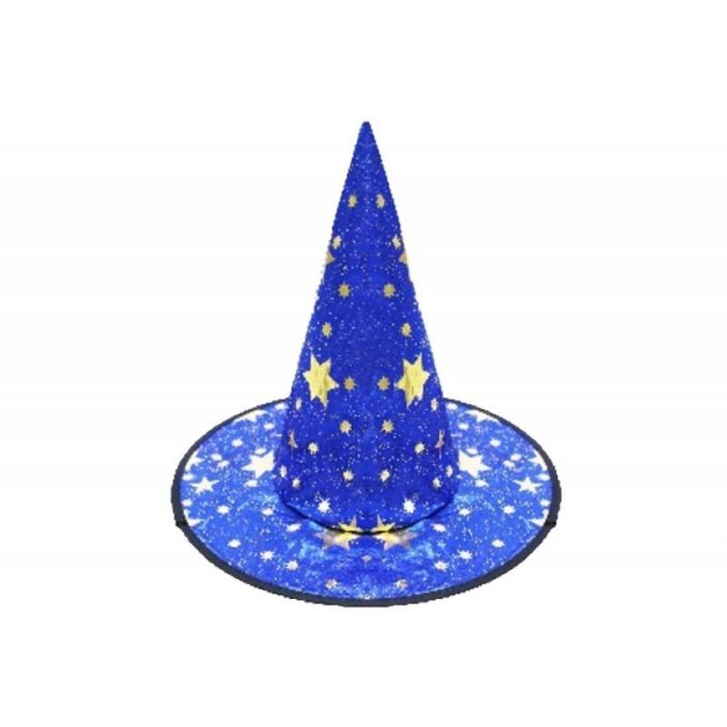 Cappello da strega taglia unica blu con stelle 6h-cap0082c