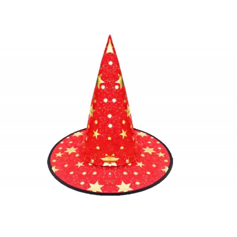 Cappello da strega taglia unica rosso con stelle 6h-cap0082-a