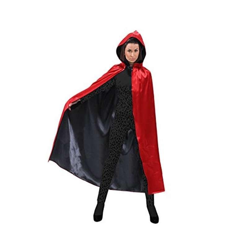 Mantello con cappuccio reversibile 6man-0016c rosso nero