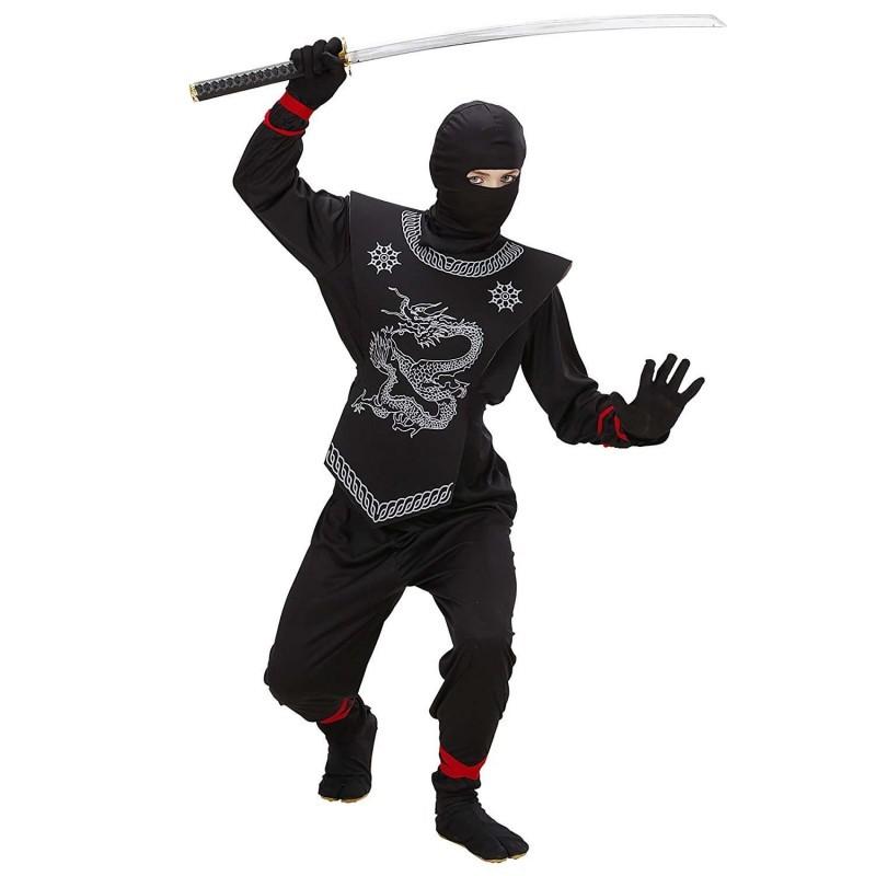 Costume bambino ninja nero WID74526   140 cm 8-10 anni