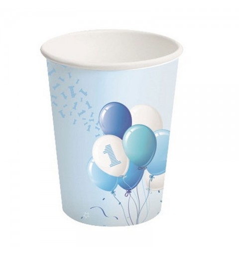 Bicchieri carta 250 ml 1 Compleanno Palloncini Azzurro 8 pz