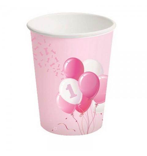Bicchieri carta 250 ml 1 Compleanno Palloncini rosa 8 pz