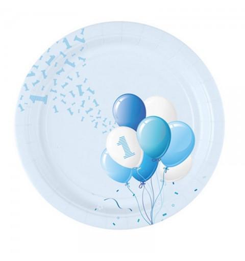 Piatti Ø 23 cm 1 Compleanno Palloncini Azzurro 8 pz