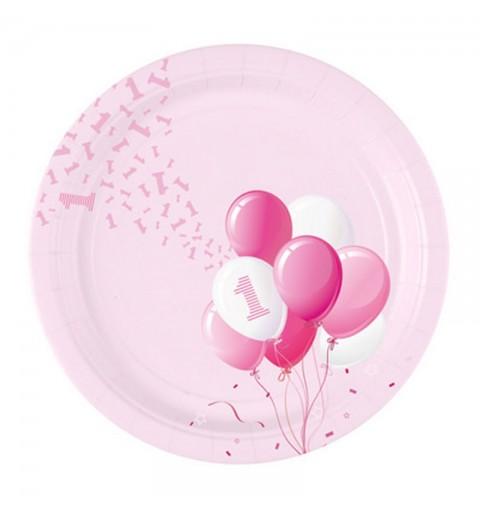 Piatti Ø 23 cm 1 Compleanno Palloncini rosa 8 pz