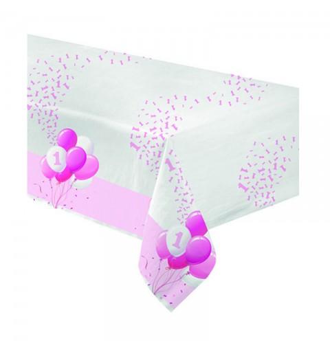 Tovaglia carta 120 x 180 cm 1 Compleanno Palloncini rosa