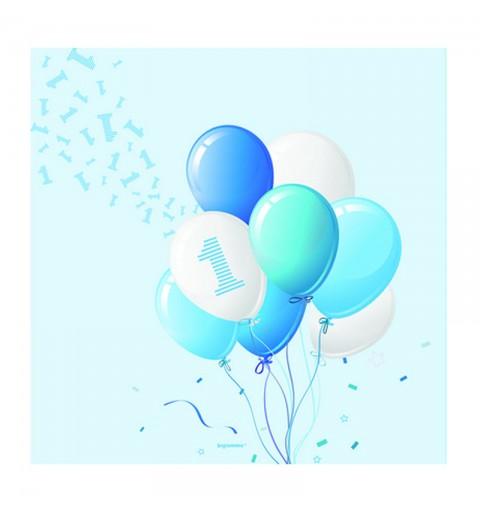 Tovaglioli 33 x 33 cm 1 Compleanno Palloncini Azzurro 20 pz