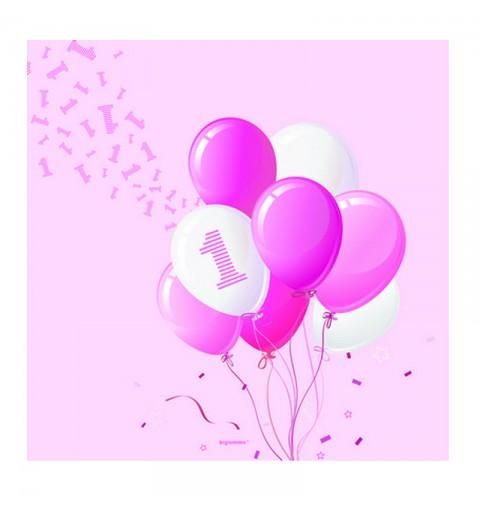 Tovaglioli 33 x 33 cm 1 Compleanno Palloncini rosa 20 pz