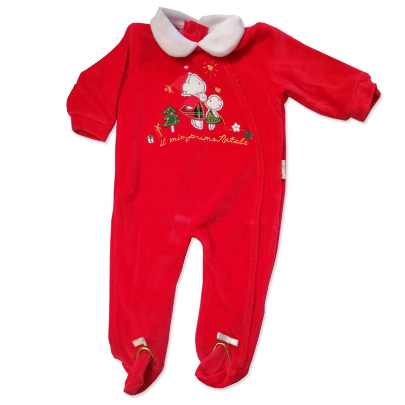 Tutina Natalizia in Ciniglia Il Mio Primo Natale BQ3017 tg 1 mese - colore rosso