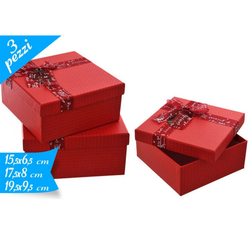 set 3 scatole quadrate rosse 15 - 17 19 cm 781831 con fiocco
