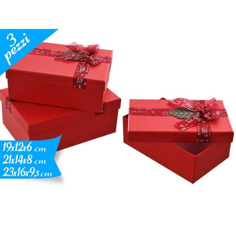 set 3 scatole rettangolari rosse 15 con fiocco 781830 19 - 21 - 23 cm