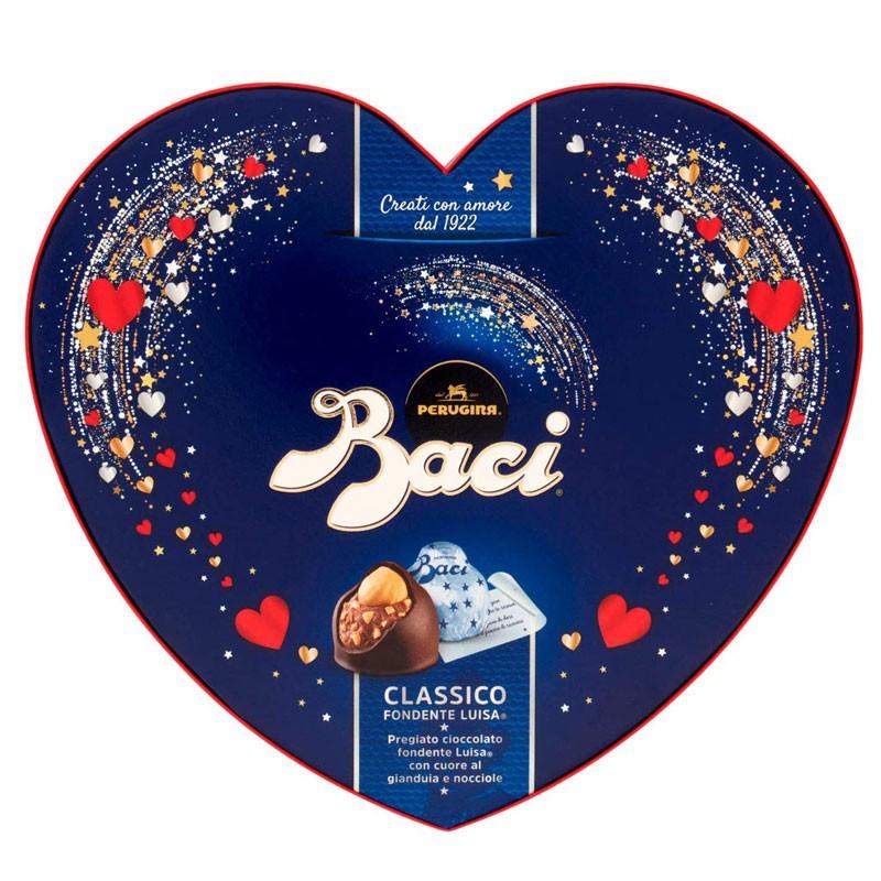 Baci perugina classici Cioccolatini fondenti ripieni al gianduia e nocciola scatola cuore 100g