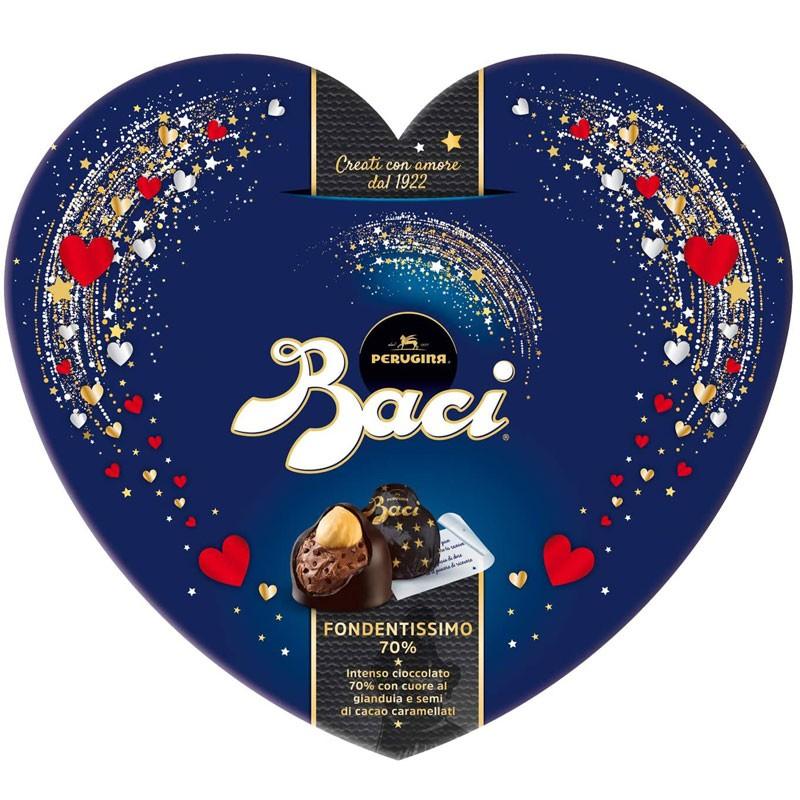 Baci Perugina Fondentissimo 70% Cioccolatini Fondenti Ripieni Al Gianduia E Nocciola Scatola Cuore 100 g