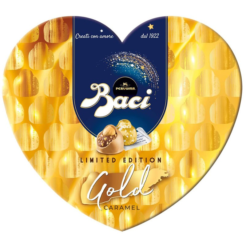 Baci Perugina Gold Limited Edition Cioccolatini Ripieni Al Gianduia E Nocciola Scatola Cuore 100 g
