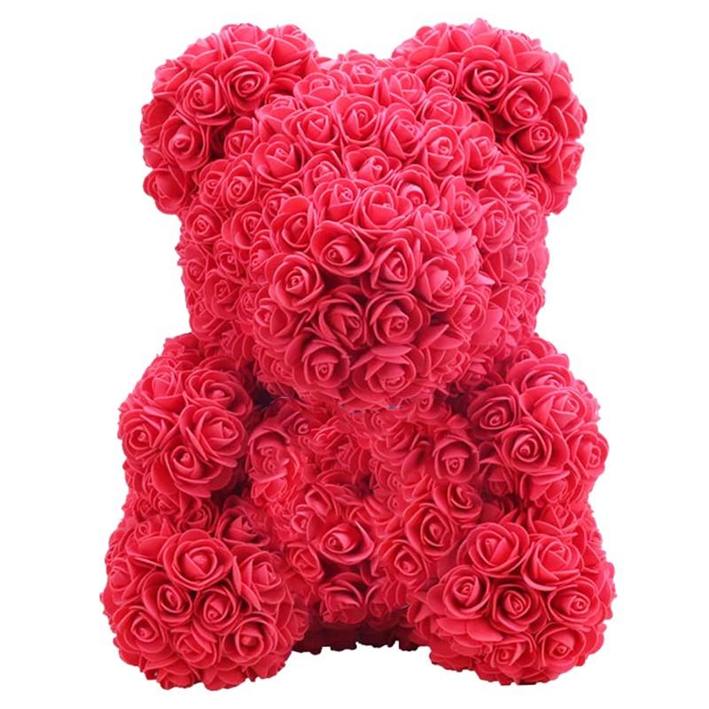 Orsacchiotto di Rose Artificiali in Gomma crepla Rosso con cuore rosso - 40cm