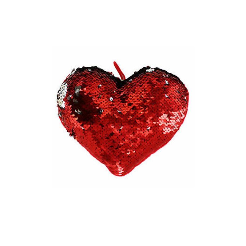 Cuore paillettes rosso dorato gira e brilla 20 cm 557521
