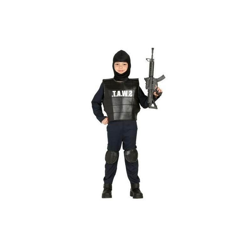 Costume Carnevale Bambino Poliziotto SWAT Squadra Anti Sommossa 5/6 Anni 88494