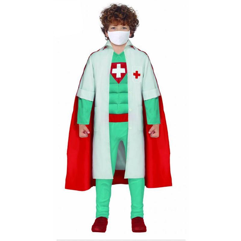 Costume da dottore super eroe 5-6  anni 77362 eroe sanitario